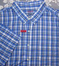 IZOD Light Weight Poplin Mens 4XL Short Sleeve Button Front Shirt Plaid New