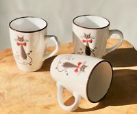 3 x 300 ml Kaffeetasse Kaffeebecher Becher Keramik Kaffee Mug Katze creme 31634