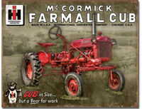 Farmall Cub Metal Tin Ad Sign McCormick Tractor Farm House Picture Decor Gift