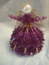AMETHYST ANGEL, Beaded Safety Pin Angel with Metal wings and halo