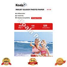 "Koala 100 Sheets 5x7"" Premium 48lb Glossy Inkjet Printer Photo Paper Canon HP"