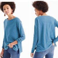 J Crew Women's Deck T-Shirt Size XS Green Stripe Cotton Long Sleeve Top L2