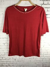 MERONA RED BLOUSE XL WOMEN'S PEARLY STUDS SHIRT TOP NEW (AAN)