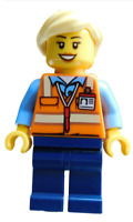 Lego Frau Eisenbahn Mitarbeiterin Zug Arbeiter trn245 Minifigur Figur Train Neu