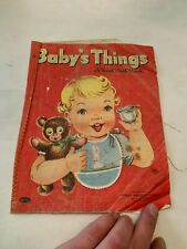 1955 Baby's Things Whitman A Real Cloth Book Softcover