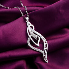 925 Sterling Silver Jewelry Fashion Women Wedding Party Crystal Necklace