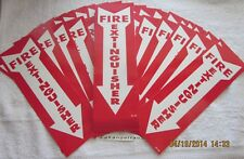 Lot Of 100 Self Adhesive Vinyl 4x12 Fire Extinguisher Arrow Signsnew