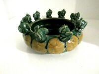 Vintage Ceramic Mini Elephants Trunk Up Planter or Bowl 6""
