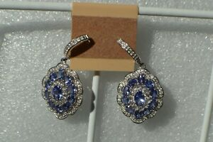 5.70ct Tanzanite / Zircon Dangle Drop Earrings Platinum over Fine Silver ~ Nice