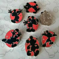 Red Silhouette 2018 Hidden Mickey DLR 7 Disney Pin Set with Completer & Chaser
