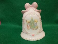 Avon 1997 Christmas Precious Moments Bell W/Pink Bow By Enesco