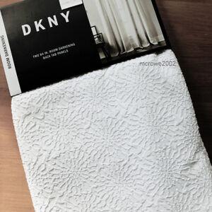 DKNY Mosaic * ROOM DARKENING * 2 Window CURTAIN Panels drapes raised WHITE 50x84