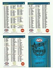 2017 SELECT CERTIFIED checklist COMMON TEAM SET 4 CARDS AFL