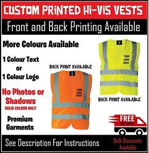 Personalised Hi Vis Vest Custom Printed Premium Workwear Logo Text Safety Vest