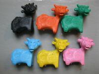 Vintage Cow Pencil Eraser Topper - Dairy Milk Farm Advertising - Lot of 6 !!!