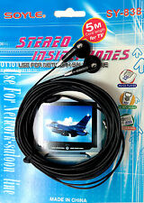 New Soyle Stereo Inside Head Phones With 5M Cord Length for TV 3.5 mm Plug