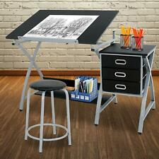 Desk Drawing Drafting Table Tabletop Adjustable Height w/ Stool Arts Craft New