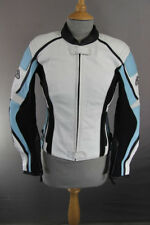 HEIN GERICKE WHITE LEATHER BIKER JACKET WITH REMOVABLE CE PROTECTORS SIZE 6
