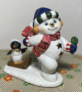 CERAMIC CHRISTMAS SNOWMAN with Gold Accents