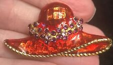 stone hat brooch pin Red Hat society purple crystal