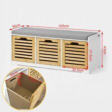 SoBuy Hallway Shoe Storage Bench With 3 Drawers & Seat Cushion Fsr23-wn UK