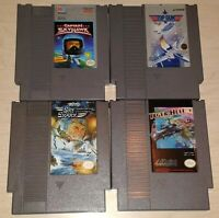 Lot of 4 flying Games Nintendo NES Top Gun Sky Shark Tiger Heli Captain Skyhawk