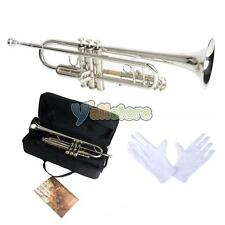 New LADE Professional Brass Bb 3 Key Silver Trumpet with  W/ Case Bag & Gloves