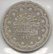 TURKEY,  AH 1293//2 ( 1876-1909 ),  20 KURUSH,  SILVER,  KM#722