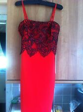 LIPSY RED BODYCON DRESS WITH RED/BLACK LACE OVERLAY WITH CAMI STRAPS SIZE 12