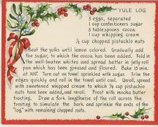 VINTAGE CHRISTMAS WHITE RED HOLLY BERRY YULE LOG PISTACHIO CAKE RECIPE PRINT