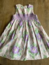 RARE Girl's BABY LULU Purp & Pink Smocked DRESS Size 6 Cotton Floral
