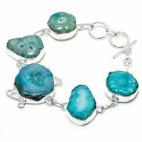 "Aqua Solar Quartz Handmade Ethnic Style  Jewelry Bracelet 7-8"" VJ-5668"