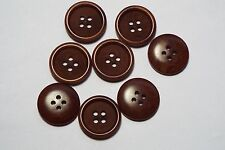 8pc 20mm Pillar Box Red Mock Wood Effect 4 Hole Button 1448