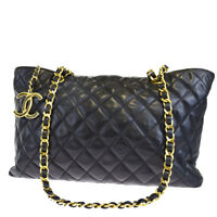Auth CHANEL CC Logos Quilted Chain Shoulder Tote Bag Leather BK Vintage 98EJ493
