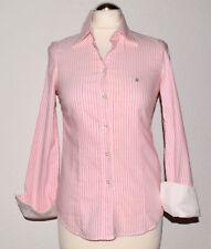 Gant  Bluse  Gr. 34  Rosa  Stretch  Gestreift  Logo  Langarm