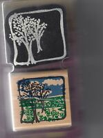 """meadow scene 2 pcs posh presents inc. Wood Mounted Rubber Stamp 2 x 2"""""""