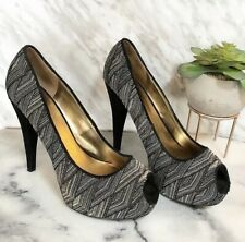 "Brand New Nine West Embroidered Metallic 5"" Heels Size 9 Slip-On Black Gold"