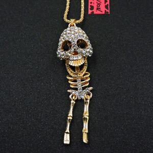 New Fashion Betsey Johnson White Rhinestone Skull Crystal Pendant Chain Necklace