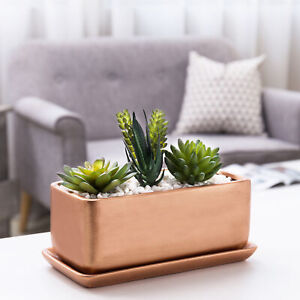 MyGift 10 Inch Rectangular Copper Tone Ceramic Succulent Planter Pot Window Box