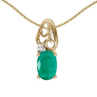 """10k Yellow Gold Oval Emerald And Diamond Pendant with 16"""" Chain"""