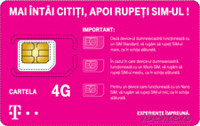 Telekom Romania prepaid sim card with RO  number GSM  international roaming 4G