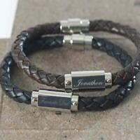 Miami Brown Black Leather & Stainless Steel Mens Personalised Engraved Bracelet