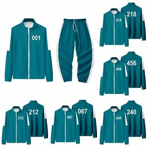 Squid Game Tracksuit Green Adult All Numbers Squid Game Costumes All Sizes