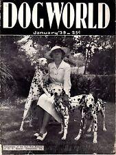 Vintage Dog World Magazine January 1939 Dalmatians Cover