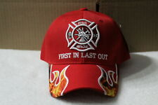 FIRE RESCUE FLAME FIREFIGHTER FIRST IN LAST OUT  BASEBALL CAP HAT ( RED )