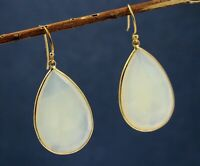 Solid 925 Sterling Silver Jewelry Chalcedony Gemstone Gold plated Earring