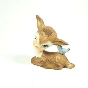 Winking Deer Vintage Figurine Ceramic Woodland Fawn