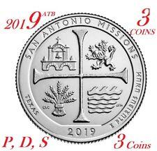 2019 P D S 25C San San Antonio Missions National 3-coin set atb Parks Quarter