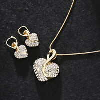 Fashion Women Gold Heart Crystal Rhinestone Plated Necklace Earring Jewelry Set