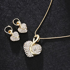 Women Silver Heart Gold Crystal Rhinestone Plated Necklace Earring Jewelry Set